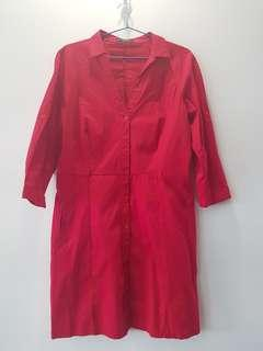 Mango Red Button Mid Length Sleeves Work Dress
