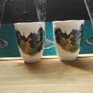 Blue Peonies and Gold Ceramic Cup Pair New with Box