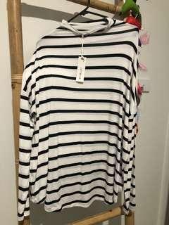 Lightweight High Neck Stripe Top Long Sleeve M