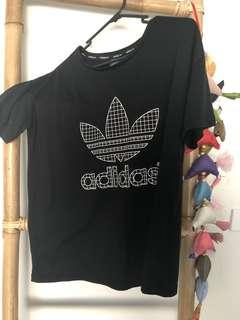 Adidas Treefoil Black T-Shirt Womens Size S