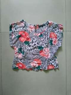 Authentic Topshop leopard flower top