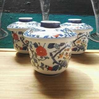 Oriental Lotus and Bird Rice Bowl Set with Cover