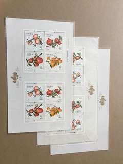 中国邮票2014年水果一小板張3张