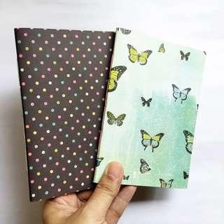 Handstitched journal insert A6 - Dot/Butterfly (2 sets)