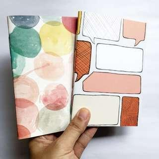 Handstitched journal insert A6 - Watercolor circles/Speech bubble (2 sets)