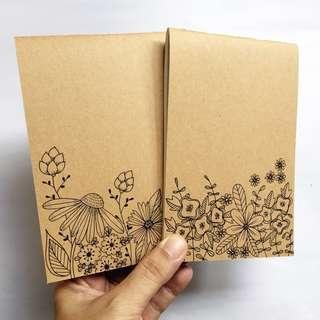 Handstitched journal insert A6 - Kraft with doodles (2 sets)