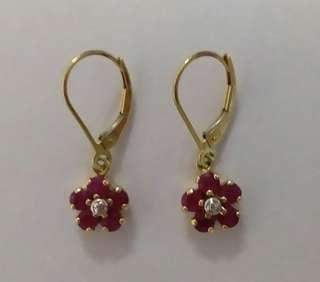 RUBY CLUSTER with DIAMOND LEVERBACK EARRINGS