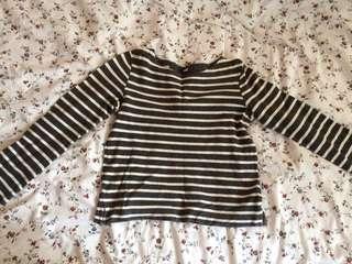 (INC POST) Stripes Crop Top