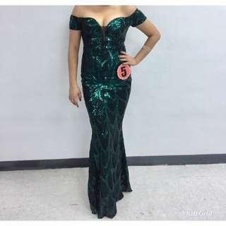 Green glittery sequin gown