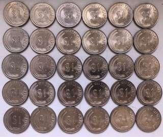 Old $1 Singapore Coins