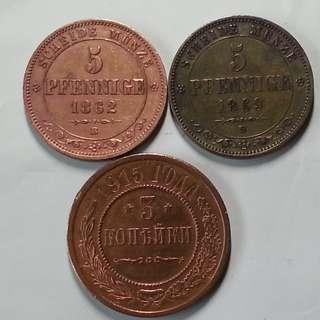 Antique German and Russian Copper Coins Kopek Pfennige Old Times Monarchy Currency