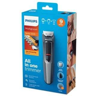 Philips 飛利浦 MG3747 9合1 多功能面部修毛器剪髮器 / 9in1 Rechargeable Electric Hair Clipper Trimmer Multigrooming Set / 全新行貨有單有保養