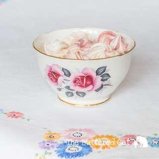 Pretty vintage pink rose English bone china sugar bowl, cafe au lait bowl
