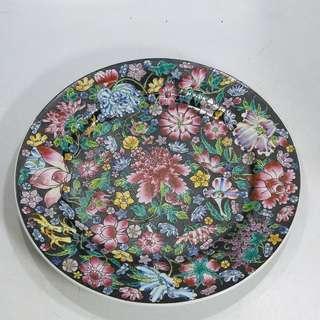 中國景得鎮 80年代 10寸墨地花粉彩碟