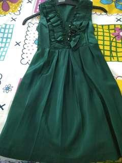 Emerald satin dress
