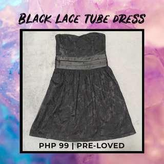Black Lace Tube Dress