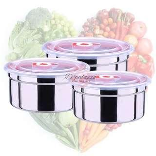 3pcs 304 Stainless Steel Fresh-Keeping Storage Box Container Lunch Box Refrigerated Food