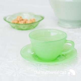 Vintage jadeite glass cup and saucer
