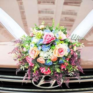 Pastel Bridal Car Deco