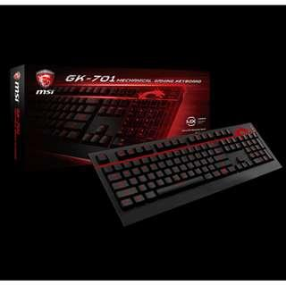 【全新現貨】【含稅開發票】微星 MSI GK-701 機械式 電競鍵盤 紅色背光+呼吸燈 茶軸 中文版