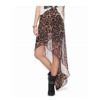 Forever21 Sheer Leopard High Low Asymmetrical Hem Skirt