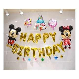 Party Decoration Happy Birthday Mickey Mouse Mickey Minnie Celebration Balloon