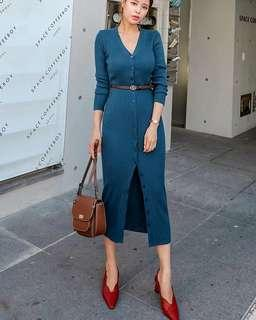 Autumn V Neck Single-breasted Knitted Blue Dress