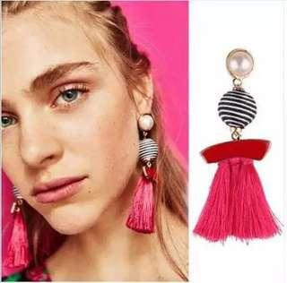 Bracket Earpiece Zara / Anting Tassel / Anting Pink Panjang