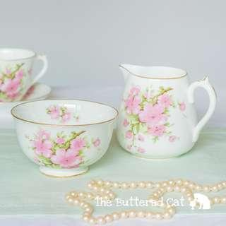 Pretty pink blossom vintage English bone china milk jug and sugar bowl