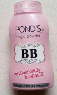 Ponds bb magic powder...msh banyk isinya.98%...ini bedak paling hitz..bsa di liqt di google