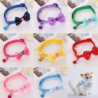 INSTOCKS ! Dog Cat Bow Collar With Bell 4 colors