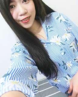 條紋花襯衫