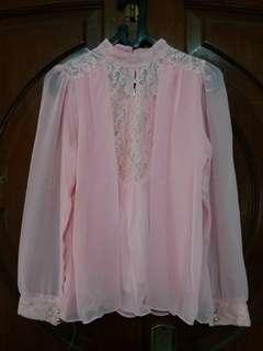 Blouse Chiffon Soft Pink