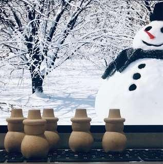 5pcs Unpainted Wooden Snowman Peg Dolls