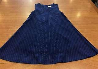 (6 mailed) Blue striped flare dress