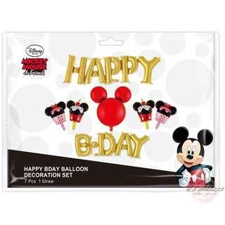 Party Decoration Happy Birthday Gold Wording Disney Theme Mickey Mouse Balloon