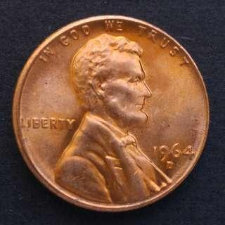 1964-D版 美國林肯一仙美金 硬幣一枚 (01)