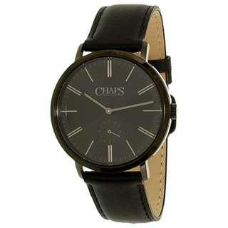 Chaps Men's 'Dunham' Quartz Stainless Steel and Leather Casual Watch, Color:Black (Model: CHP5018)