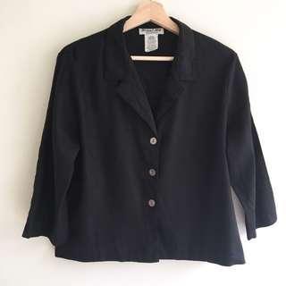 Vintage Black Linen/Viscose Jacket/Top