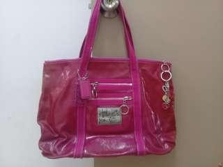 authentic Coach poppy patent leather (defect) handbag