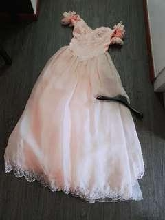 Clearance Used Gown Wedding Peach Off Shoulder Ball Gown Princess Beading