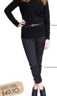 Preloved uniqlo cropped polka dot leggings pants
