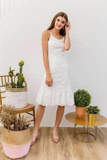 White Mariella Eyelet Ruffles Midi Dress