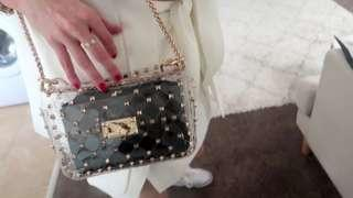 Clear studded gold chain adjustable strap flap bag