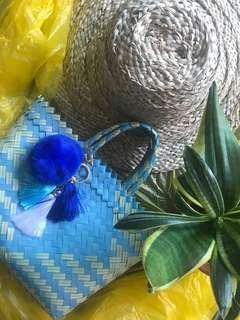 🚚 Stylish plastik handwoven handbag super small size