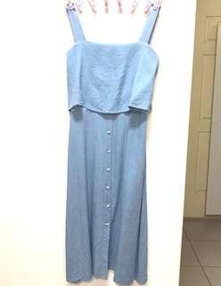 🚚 正韓 韓國 淺藍天空藍棉麻背心假兩件式排釦長裙 長洋裝