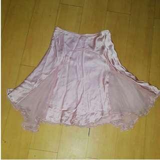 Satin and tulle pink midi skirt
