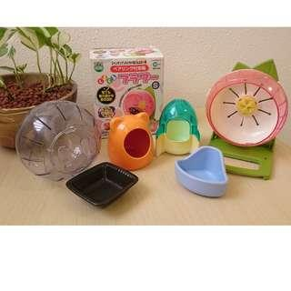 Cute Assorted hamster toys, hideouts, dish, etc