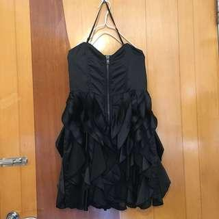 宴會 連身 黑色 露肩 短裙