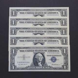 [全新藍印] 1957年 $1美金紙幣 五張連號套裝出售 (G6080)